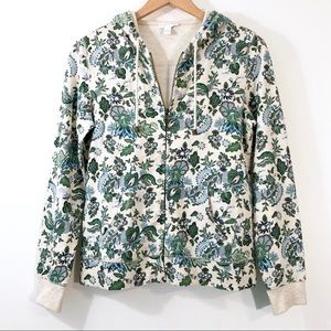 Charter Club - Floral Hoodie Zip Up Sweatshirt